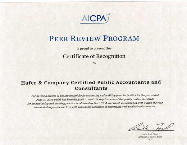 Peer Review Documents   Hafer Certified Public Accountants & Consultants